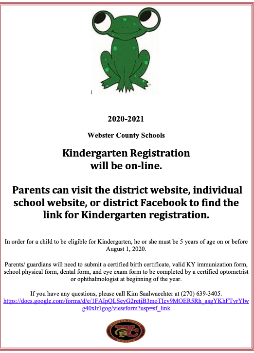 20-21 Kindergarten Registration
